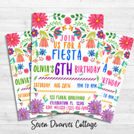 Fiesta Floral Cinco de Mayo Watercolor Birthday Printable Invitation - Seven Dwarves Cottage