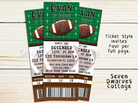 Personalized Football VIP Ticket Printable Invitation - Seven Dwarves Cottage