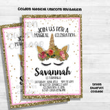 Golden Glitter Enchanted Girls Unicorn Digital Birthday Invitation - Seven Dwarves Cottage