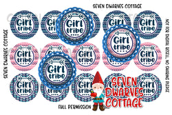 Girl Tribe Pink & Blue Arrows and Vines One Inch Circles Bottle Cap - Seven Dwarves Cottage