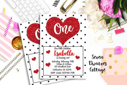 Sweetheart Glitter Hearts Birthday Printable Invitation - Valentine Glitter Heart Invitation - Seven Dwarves Cottage