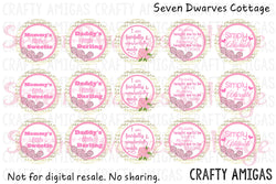 Gold & Pink Cute Girly Sayings One Inch Circle Bottlecap - Seven Dwarves Cottage