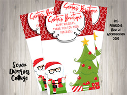 Christmas Hipster Santa Claus Boutique Thank You Bow Cards - Seven Dwarves Cottage