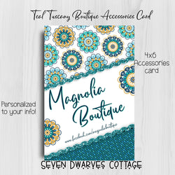 Teal Tuscany Boutique Accessories Bow Card - Seven Dwarves Cottage