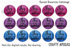 Starry Joy to the World Colorful One Inch Circle Bottle Cap Sheet - Seven Dwarves Cottage