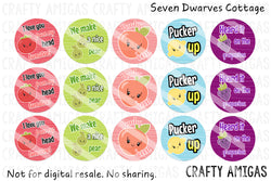 Kawaii Fruits and Veggies Cute Sayings One Inch Bottle Cap Circles - Seven Dwarves Cottage