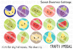 Kawaii Fruits and Vegggies One Inch Bottle Cap Circles - Seven Dwarves Cottage