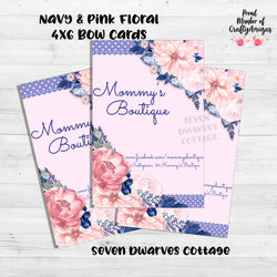 Navy & Pink Floral Bow Card Thank you Note - Seven Dwarves Cottage