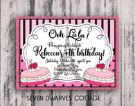 Parisian French Macarons & Eiffel Birthday Printable Invitation - Seven Dwarves Cottage
