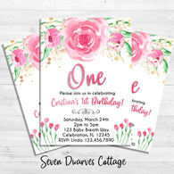 Pink Peonies Floral Watercolor First Birthday Printable Invitation - Seven Dwarves Cottage