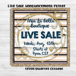 Golden Chic Boutique Announcement Sale Poster - Seven Dwarves Cottage