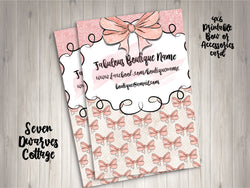 Watercolor Pink Bows Boutique Bow Card or Thank You Note Printable - Seven Dwarves Cottage