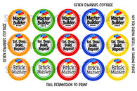 Rainbow Block Building Sayings One Inch Bottle Cap Circles - Seven Dwarves Cottage