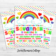 Rainbow and Hearts Birthday Printable Invitation - Seven Dwarves Cottage