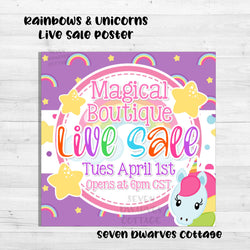 Rainbows and Unicorns Live Sale Boutique Poster - Seven Dwarves Cottage