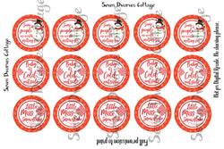 Red Snowflake & Snowman Sayings One Inch Bottle Cap Sheet - Seven Dwarves Cottage