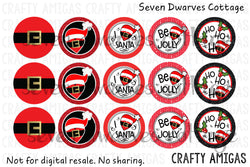 Santa Belts Christmas One Inch Circles Bottle Cap Sheet - Seven Dwarves Cottage