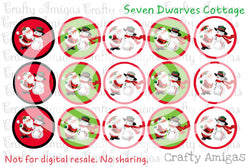 FREEBIE - Santa and Snowman One Inch Circle Bottle Cap Sheet - Seven Dwarves Cottage