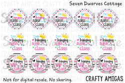 Bringing Sass to the Class Back to School One Inch Circle Bottlecap - Seven Dwarves Cottage