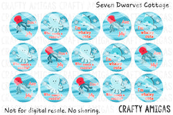 Glittery Cutie Sea Animals One Inch Bottle Cap Circles - Seven Dwarves Cottage