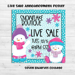 Adorable Snowmen Babies Live Sales Boutique Poster Ad - Seven Dwarves Cottage