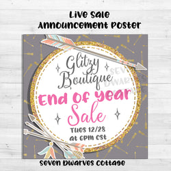 Trendy Boho Glitter Arrows Live Sale Boutique Poster - Seven Dwarves Cottage