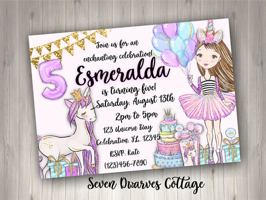 Magical Celebration Unicorn Birthday Girl Printable Invitation - Seven Dwarves Cottage