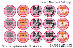 Freebie - Valentines Animals One Inch Bottle Cap Circles - Seven Dwarves Cottage