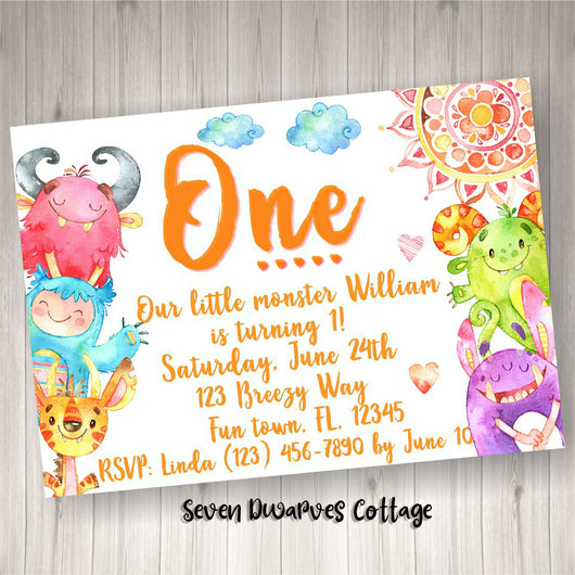 Watercolor Funny & Cute Monsters Birthday Printable Invitation - Seven Dwarves Cottage