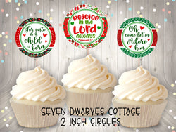Christmas Paisley Bible Quotes 2 Inch Cupcake Topper Circles - Seven Dwarves Cottage