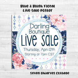 Navy & Blush Floral Live Sale Boutique Poster - Seven Dwarves Cottage