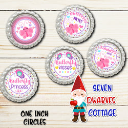 Spring Butterfly Kisses 4x6 One Inch Bottle Cap Circle - Seven Dwarves Cottage