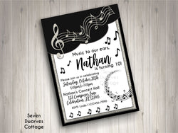 Black & White Classical Music Notes Birthday Printable Invitation - Glamorous Musical Birthday - Seven Dwarves Cottage