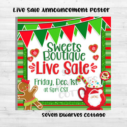 Christmas Sweet Treats Live Sales Boutique Poster Ad - Seven Dwarves Cottage