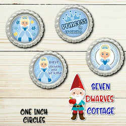 Blue Princess in Training One Inch Circles Bottlecaps - Seven Dwarves Cottage
