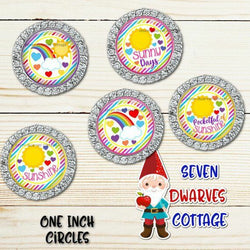 Rainbows and Sunshine Sayings One Inch Bottle Cap Circles - Seven Dwarves Cottage