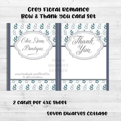 Grey Floral Romance Bow Card Thank You Note - Seven Dwarves Cottage