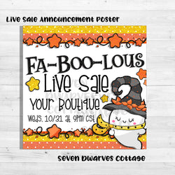 Glittery Fa-Boo-lous Ghost Candy Corn Live Sale Boutique Poster - Seven Dwarves Cottage