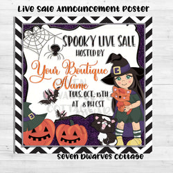 Halloween Wishes Witch Live Sale Boutique Poster Announcement - Seven Dwarves Cottage