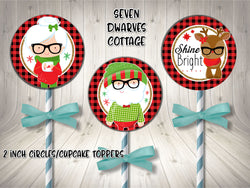 Hipster Santa Mrs Claus & Rudolph 2 Inch Cupcake Topper Circles Printable - Seven Dwarves Cottage