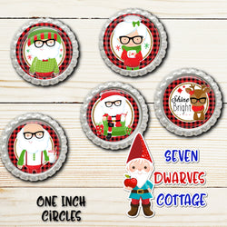 Hipster Santa Claus and Friends One Inch Circle Bottle Cap Sheet - Seven Dwarves Cottage