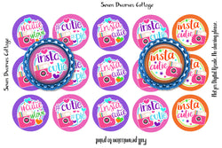 Insta Cuties Bright Rainbow One Inch Circles Bottle Cap Sheets - Seven Dwarves Cottage