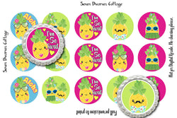Kawaii Pineapples with Cute Sayings One Inch Bottle Cap Sheet - Seven Dwarves Cottage