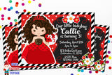 Ladybug Princess Girls Birthday Celebration Printable Invitation - Seven Dwarves Cottage