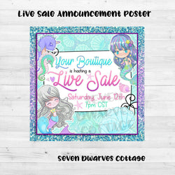 Glittery Mermaids Sale Poster - Seven Dwarves Cottage