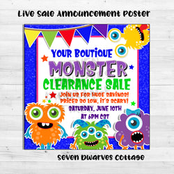 Rainbow Cute Monsters Sale Boutique Live Sales Poster - Seven Dwarves Cottage