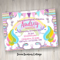 Magical Unicorn Girls Birthday Printable Invitation - Twins Unicorn Birthday Printable Invite - Seven Dwarves Cottage
