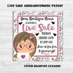 Glittery Planner Girl Boutique Live Sale Poster - Seven Dwarves Cottage