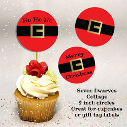 Christmas Santa Belt Sayings 2 Inch Cupcake Circles - Seven Dwarves Cottage