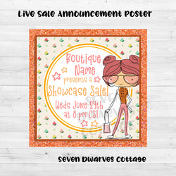 Retro Shopping Girl Boutique Live Sale Poster - Seven Dwarves Cottage